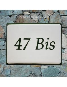 plaque de signalisation céramique bord vert inscription verte