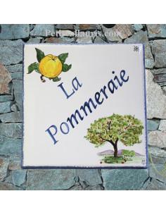 Plaque personnalisée pour votre maison décor pomme et pommier de Normandie