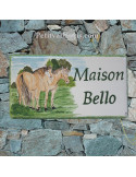 Plaque de Maison rectangle décor personnalisé chevaux inscription verte