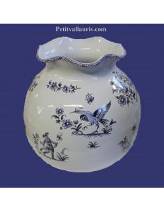 Vase boule dentelle en faïence décor Tradition Vieux Moustiers bleu H21