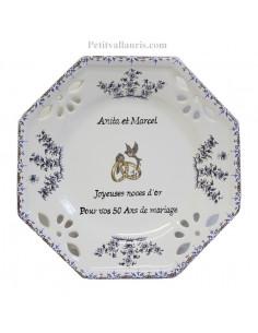 Assiette de Mariage octogonale petit modèle décor tradition vieux moustiers bleu