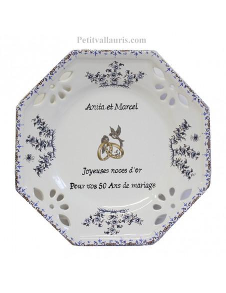 Assiette souvenir de Mariage personnalisée modèle octogonale motif fleurs tradition bleu