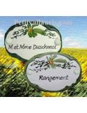 Plaque ovale de porte décor fleur verte
