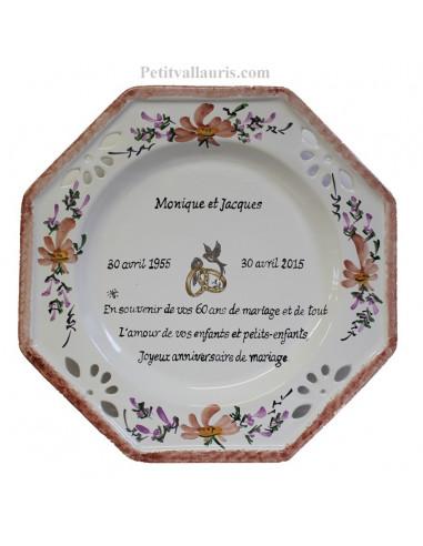 Assiette anniversaire de Mariage octogonale décor fleurs saumons avec poème noces de diamant