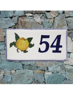 Plaque de maison faience émaillée décor pomme de normandie inscription personnalisée bleue