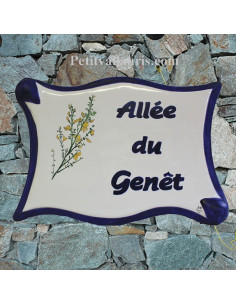 Plaque de forme parchemin décor personnalisé Genêts