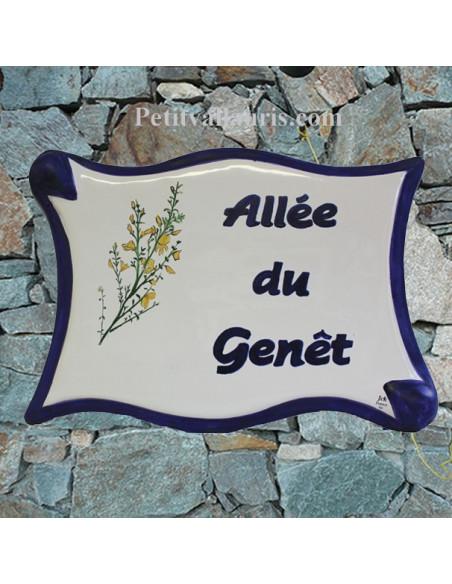 Plaque céramique de forme parchemin pour une allée motif artisanal les genêts