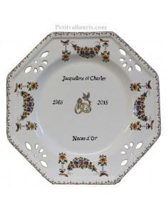 Grande assiette avec personnalisation souvenir de Mariage modèle octogonale motif fleurs tradition polychrome