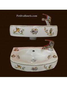 Lave-main modèle Ulysse décor Tradition Vieux Moustiers polychrome