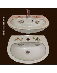 Lave-main en porcelaine blanche modèle Odyssee décor reproduction Tradition Vieux Moustiers polychrome