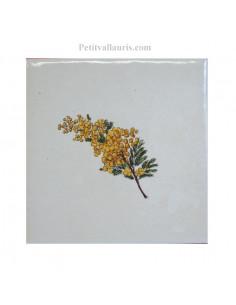 Carreau décor mimosas taille 2 10 x 10 cm