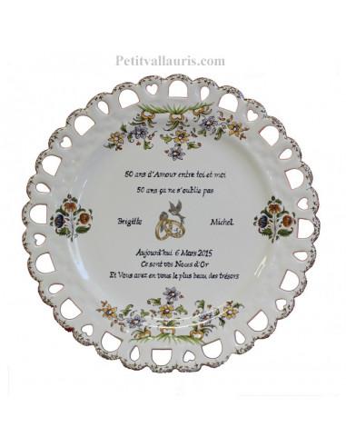 Assiette de Mariage modèle Tournesol inscription avec citation noces d'or