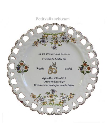Assiette anniversaire de Mariage en faience modèle Tournesol inscription avec citation noces d'or