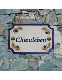 Plaque de Maison rectangle décor pomme de pin inscription personnalisée bleue
