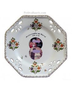 Assiette de Mariage modèle octogonale avec photo décor tradition vieux moustiers