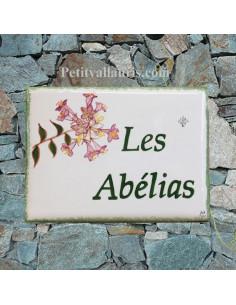 plaque de maison céramique personnalisée décor les Abélias