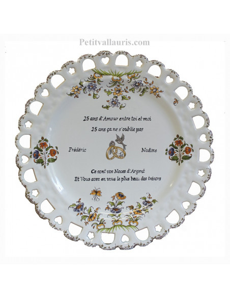 Assiette de Mariage modèle Tournesol inscription avec citation noces d'argent