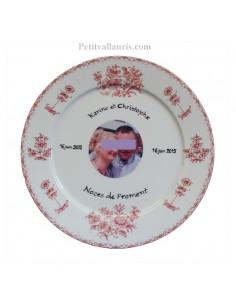 Assiette de Mariage porcelaine avec photo décor tradition vieux moustiers rose