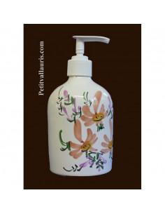 Distributeur de savon liquide décor Fleur beige-saumon
