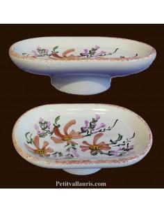 Porte savon en faience blanche à poser ou à inserer dans un anneau mural motif artisanal Fleurs saumon-beige