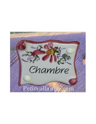 """Plaque de porte parchemin rose """"Chambre"""""""