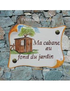 Plaque de Maison parchemin décor personnalisé le chalet au fond du jardin