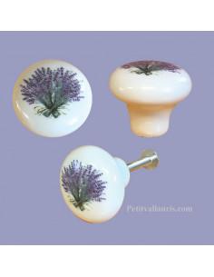 Bouton de tiroir meuble décor bouquet de lavande (diamètre 30 mm)