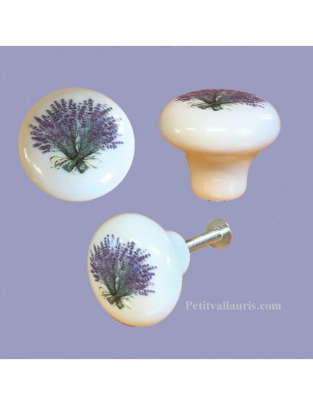 Bouton de tiroir en porcelaine blanche décor bouquet de lavande (diamètre 30 mm)