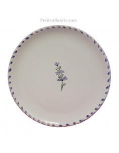Assiette simple couleur blanche décor brin de lavandes