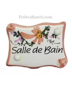 """Plaque de porte parchemin fleurs beige """"Salle de Bain"""""""