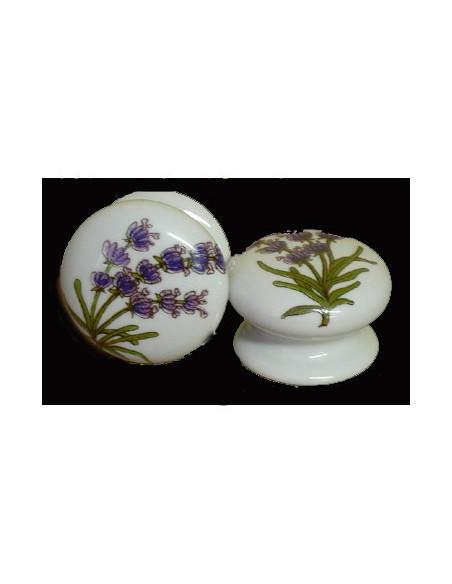 Bouton de tiroir en porcelaine blanche pour mobilier décor Brins de lavande (diamètre 35 mm)