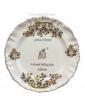 Assiette de mariage Louis XV tradition vieux moustiers polychrome