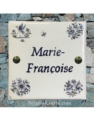 Plaque personnalisée pour votre maison tradition vieux moustiers bleu inscription bleue