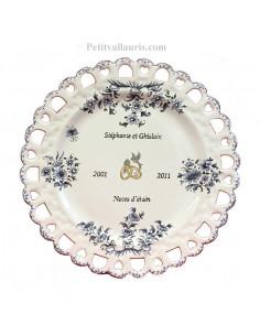 Assiette de Mariage modèle Tournesol bleu inscription personnalisée noire