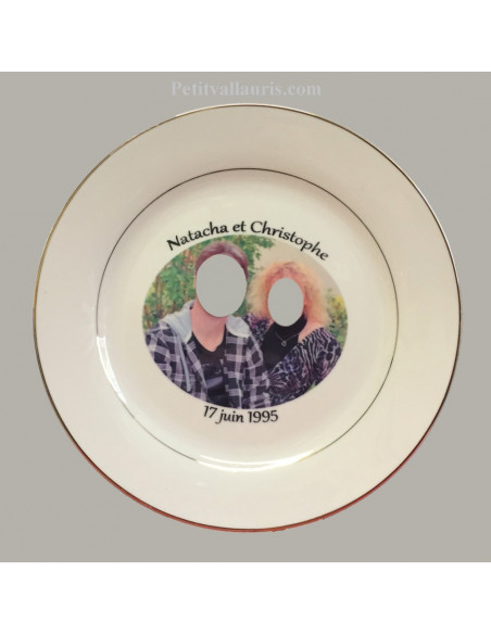 Assiette d'anniversaire avec photo en porcelaine décor Filets