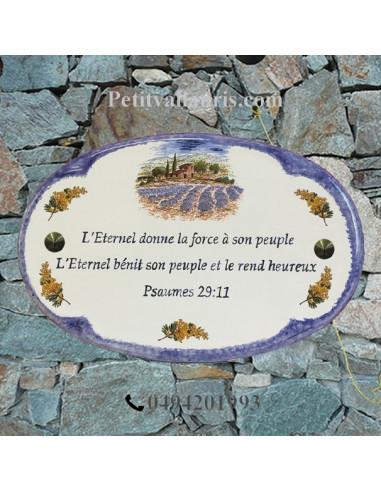 Plaque pour maison ovale décor Champs de lavandes (verset)