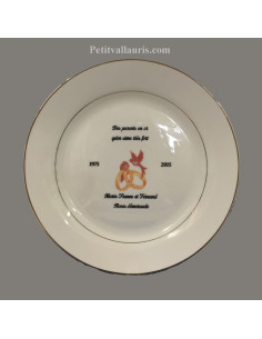 Assiette de mariage Filet Or et poème personnalisé avec support plastique