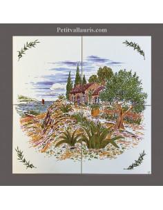 Fresque faïence Paysage cabanon olivier sur 4 carreaux 20 x 20 cm
