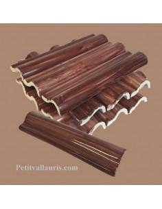 Listel corniche en faience émaillée couleur uni marron