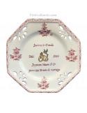 Assiette souvenir Mariage octogonale petit modèle décor tradition vieux moustiers rose