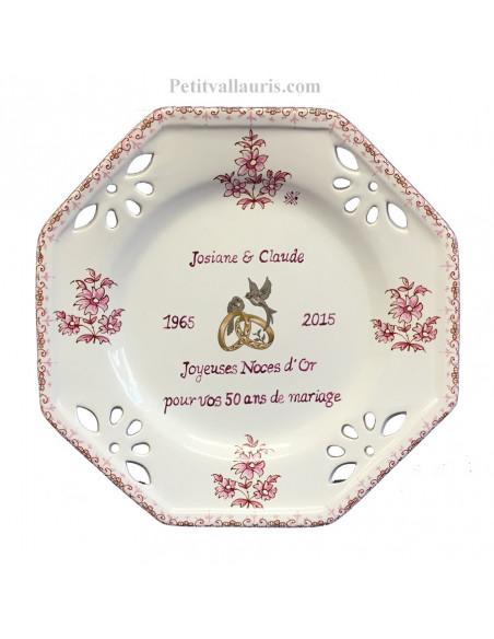Assiette souvenir Mariage modèle octogonale personnalisée motif fleurs roses tradition