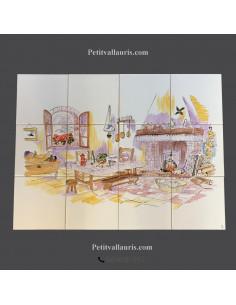 Fresque décor cheminée et cuisine campagnarde 45 x 60 cm