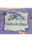 """Plaque de porte parchemin bleue """"Salle de bain"""""""