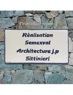 Plaque de Maison rectangle inscription personnalisée bleue et bord bleu