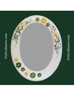 Miroir ovale décor Fleurs vertes et Fleurs jaunes + fleurs en relief