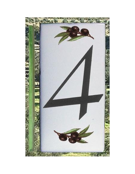 Numero de rue chiffre 4 décor brins d'olives