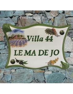 Plaque de maison parchemin en céramique Mas et Champs de Lavande bord et texte vert