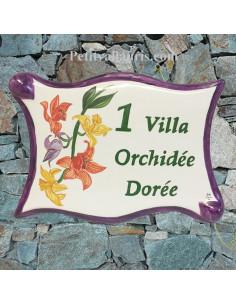 Plaque pour maison parchemin en céramique décor les Orchidées