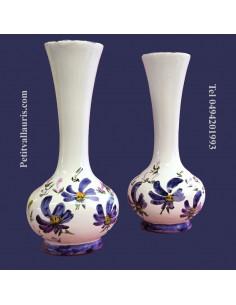 Soliflore boule décor Fleuri bleu