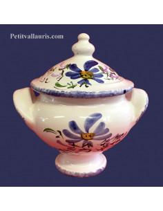 Soupière miniature en faïence décor Fleuri bleu